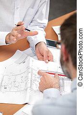blueprints, люди, discussing, два