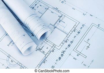 blueprints, строительство, план