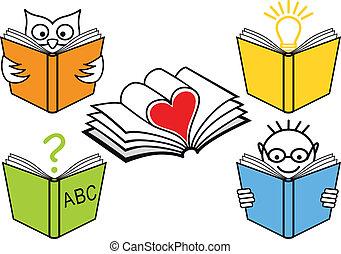 books, вектор, открытый
