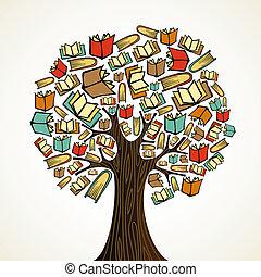 books, дерево, концепция, образование