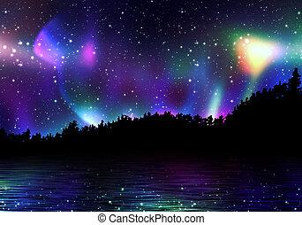 borealis, северное сияние, красочный