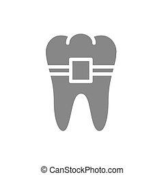 braces, зуб, icon., серый, symbol., лечение, ортодонтическое