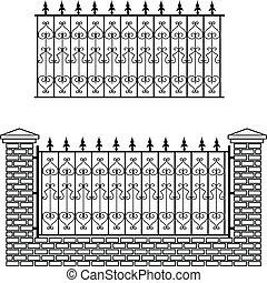 bricks, железо, забор