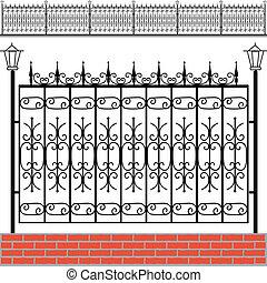 bricks, железо, забор, красный