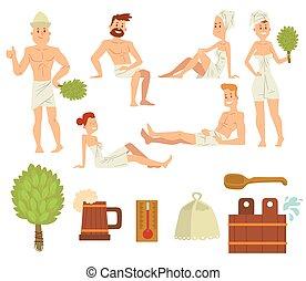brushing, концепция, relaxing, люди, пара, молодой, ванна, здоровье, vector., спа, забота