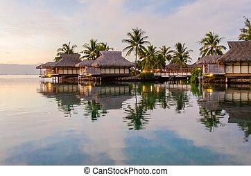 bungalows, overwater, французский, полинезия