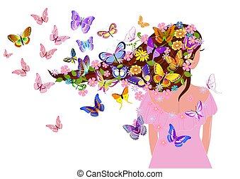 butterflies, дизайн, девушка, фантазия, ваш