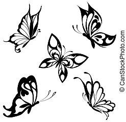 butterflies, задавать, черный, белый, та