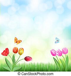 butterflies, задний план, трава, tulips, весна