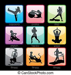 buttons, задавать, фитнес