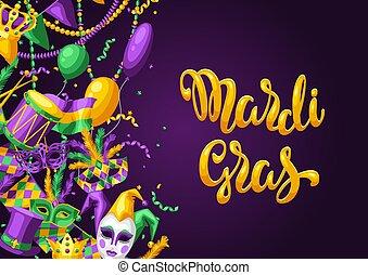 card., вечеринка, приветствие, mardi, gras, или, приглашение