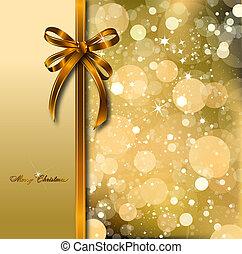 card., золото, волшебный, лук, вектор, рождество