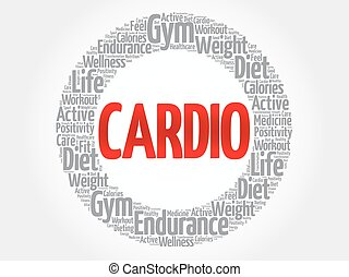 cardio, облако, слово, фитнес
