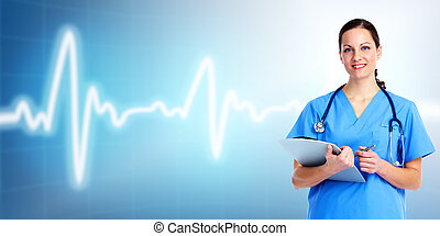 care., врач, здоровье, медицинская, woman.