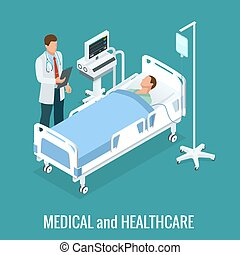 cells, подопечный, клиника, 3d, интерьер, вектор, treating, больница, изометрический, иллюстрация, операция, концепция, room., patient., web, квартира, illustration., isometry, doctors