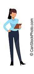 character., вектор, успешный, молодой, за работой, женщина, офис, концепция, профессиональный, современное, бизнес, бизнес-леди