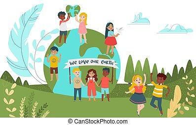 children, зеленый, люди, мужской, женский пол, планета, группа, мультфильм, немного, окружающая среда, персонаж, вектор, ребенок, staying, illustration., концепция, дитя, спасти, крошечный, world.