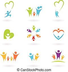 children, семья, сообщество, значок