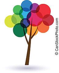 circles, дерево, многоцветный, image., счастье, life., значок, вектор, хорошо, концепция