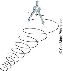 circles, спираль, вверх, разработка, дизайн, компас, рисование
