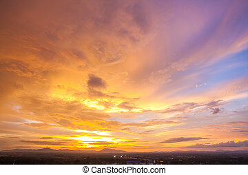 cityscape, закат солнца, небо