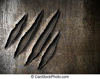 claws, пластина, scratches, металл, ржавый, метки