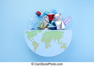 cleanup., земля, мусор, planet., экология, концепция, globe., мир