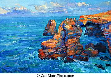 cliffs, океан
