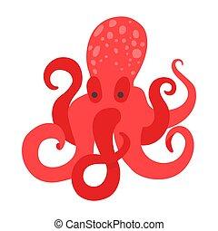 clipart, дизайн, cephalopod, 8, милый, квартира, бассейн, пляж, store., background., вектор, животное, аквариум, водный, длинный, mollusk., море, tentacles, стиль, осьминог, большой, логотип, белый, красный, или