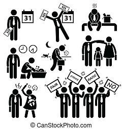 cliparts, работник, проблема, финансовый