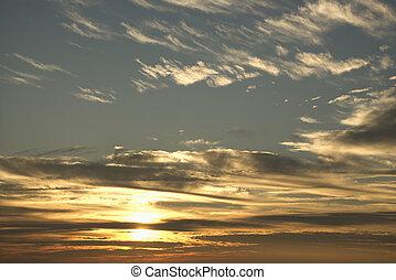 clouds, закат солнца, небо