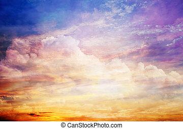 clouds, закат солнца, light., небо, фантазия, солнце, удивительно