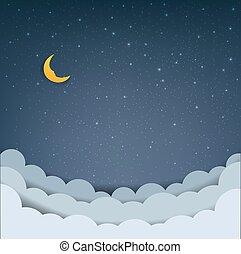 clouds, мультфильм, небо, число звезд: