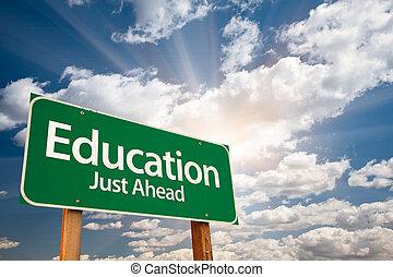 clouds, над, знак, зеленый, образование, дорога