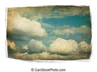 clouds, окрашенный, марочный, пушистый, небо, isolated, white., рамка