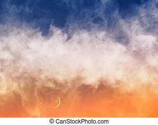 clouds, полумесяц, луна