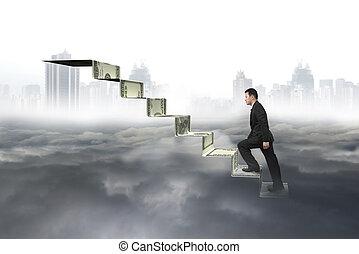 cloudscape, деньги, cityscape, альпинизм, лестница, человек