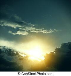 cloudscape, драматичный, солнечный лучик