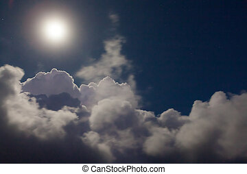 cloudscape, легкий, луна, ночь