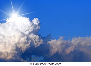 cloudscape, солнце, пространство, копия, взрыв
