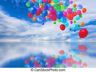 cloudscape, balloons, красочный