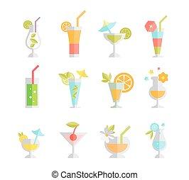 cocktails, белый, isolated, задний план, алкоголик