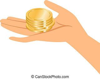 coins, держа, золото, руки