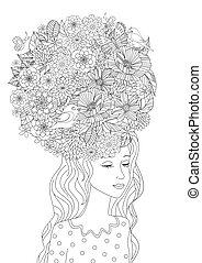 coloring, ваш, волосы, мода, девушка, цветы, страница