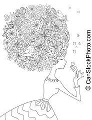 coloring, ваш, волосы, мода, цветочный, девушка, книга