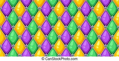 colors., gras, шаблон, бесшовный, ромб, mardi