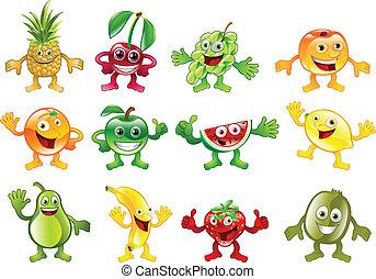colourful, задавать, персонаж, фрукты, mascots