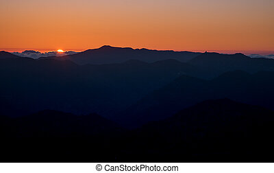 colourful, закат солнца, цвет, mountains, горизонт, оранжевый, солнце, выше