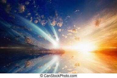 comets, два, длинный, удивительно, пылающий, фрак, falling, закат солнца
