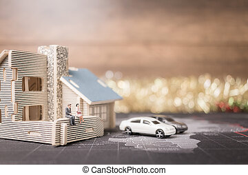 concept., бизнес, сидящий, миниатюрный, люди, инвестиции, рост, деньги, coins, home.